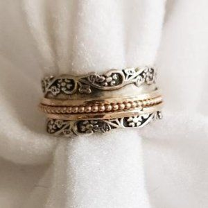 Or Paz 925 Israel Eternity Band Spinner Ring  Sz 8